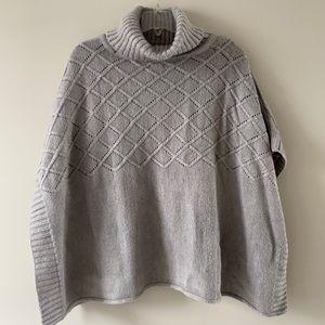 ANN TAYLOR tan knit poncho sweater